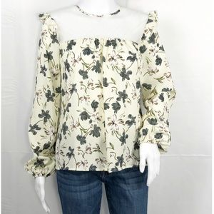 English Factory Cream Floral Lace Neck Ruffles SzS